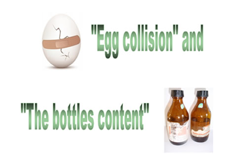 """Egg collison"" and ""The bottles content"""
