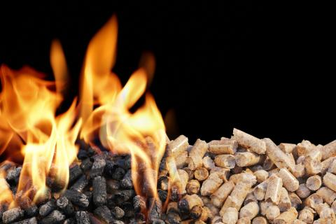 Burning wood pellets